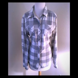 Button-down plaid gray and cream shirt